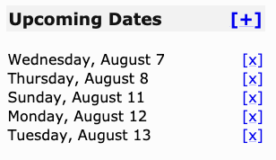 Upcoming-dates list after adding August 7th