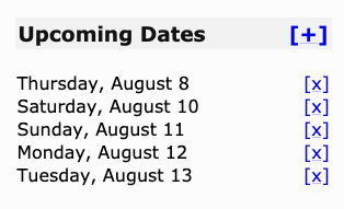 The upcoming dates list showing August 8th, 10th, 11th, 12th, and 13th